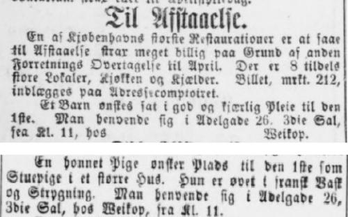 20. dec 1883 2 annoncer i Adresseavisen , side 3 og 6, fra Ferdinand og Emilie Weikop