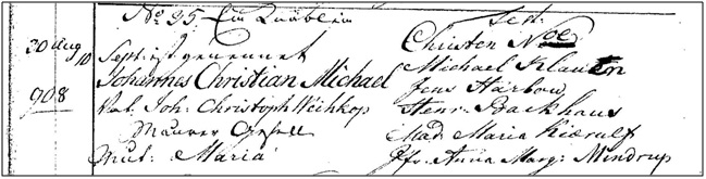 Christian Michael Weihkop, f. 30. aug. 1780, Frederiks Tyske kirke sogn
