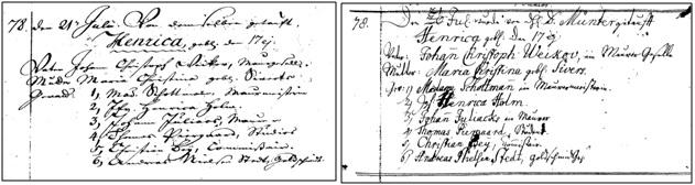 Dåb for Henrica Weikov, f. 17. jul. 1771, Sankt Petri sogn (Hovedministerialbog og Kontraministrielbog)