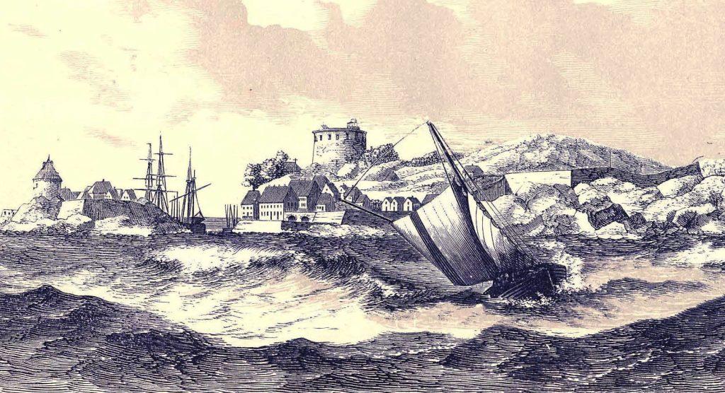 Et svensk handelsskibs forlis ved Christiansø 1693 - fra Trap Danmark 1872