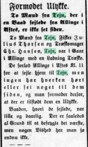 1914-02-12 Bornholms Tidende side 2, Formodet Ulykke (med Nikolai Weikop)